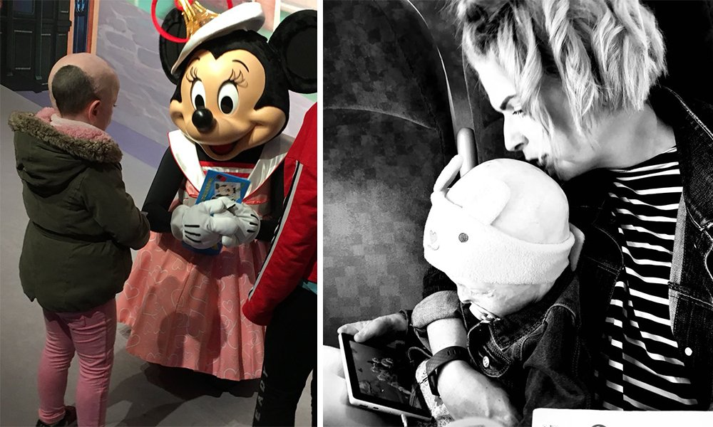 Two part photo. On the left, a young girl stands with Minnie Mouse. On the right, a woman holds a baby.