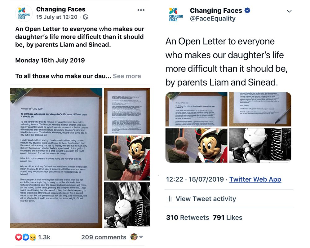 Screenshots of social media posts publicising the open letter