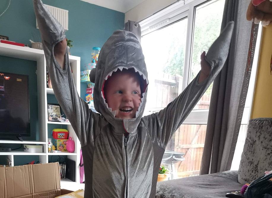 A little girl wears a grey shark costume. She smiles and raises her arms.