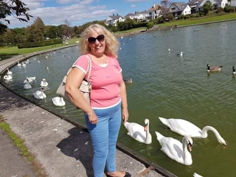 A woman in a pink t-shirt stands by a lake with swans swimming in it