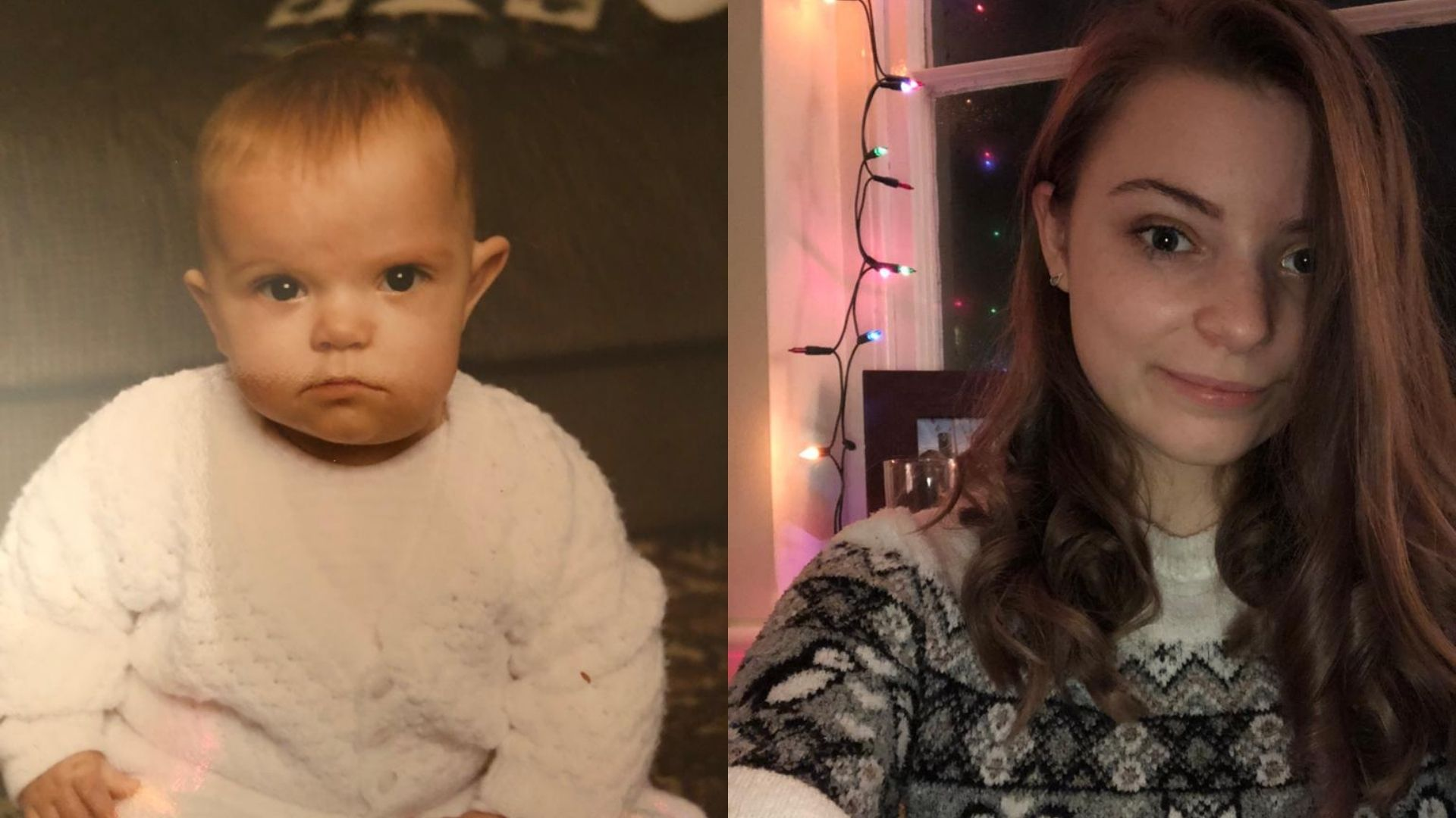 Left: A baby with blue eyes and short blond hair wearing a white knitted jumper and sitting in front of a brown sofa. Right: A woman, early 20s, shoulder length brown hair, wearing a patterned knit jumper. Her hair is covering the left side of her face partially. Behind her is a photo frame and a string of fairy lights.