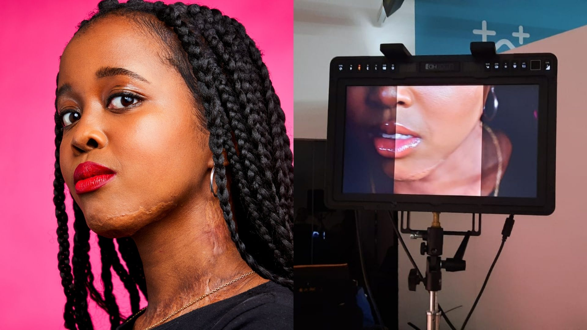 Left: A woman, early 20s. She has black braided hair and is wearing a black t-shirt and red lipstick. She is stood in front of a pink background. Right: A tv monitor on a stand shows an image of the bottom half of a young girl's face.