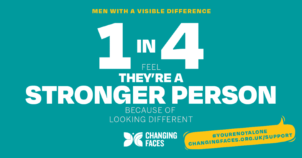 """Graphic with text: """"1 in 4 feel they're a stronger person because of looking different"""""""