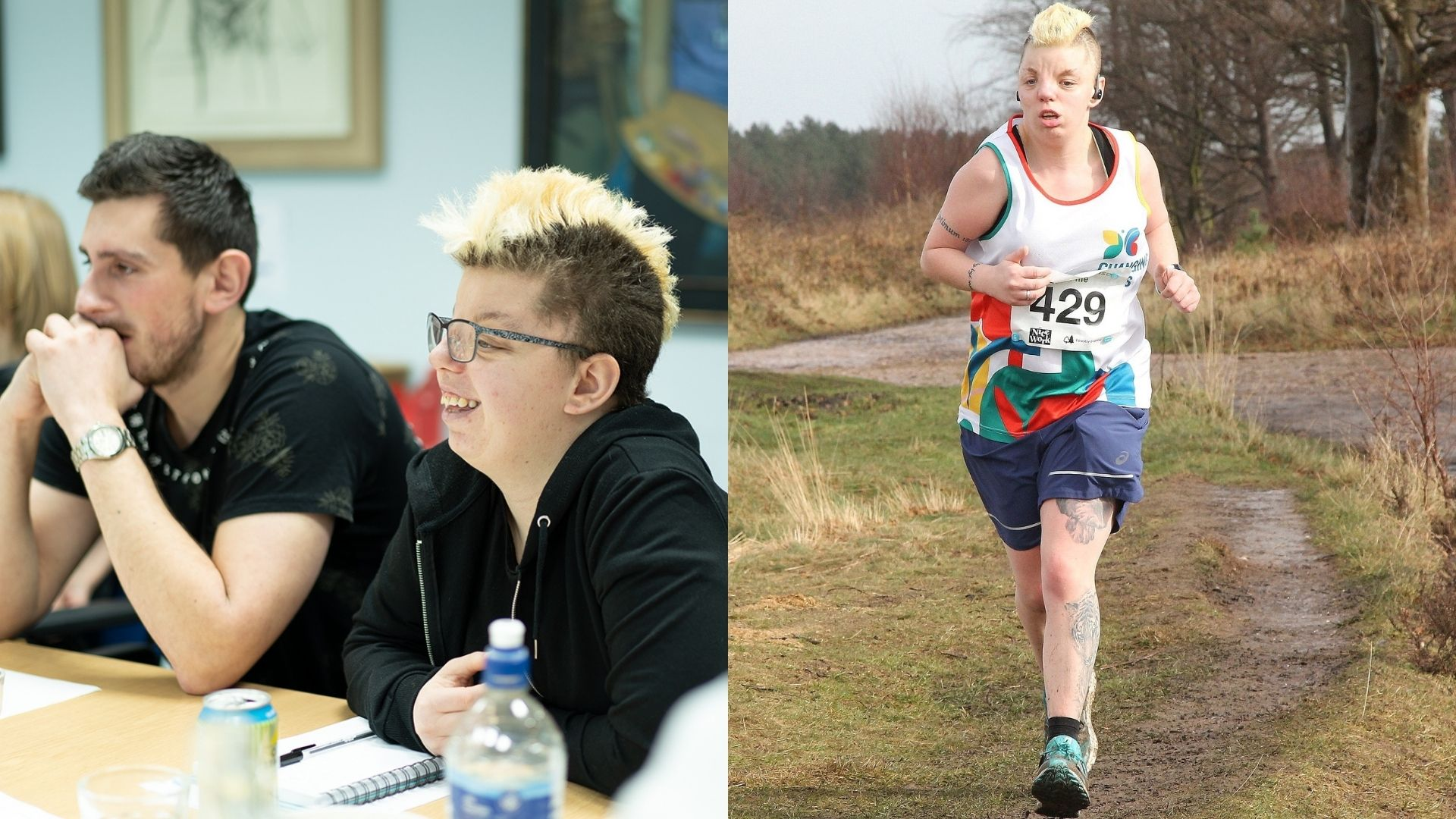 Left: Ella, a Changing Faces campaigner, wearing a black jumper and glasses and sitting at a table next to a fellow campaigner. Right: Ella, wearing a Changing Faces running singlet, and running along a muddy path outdoors.