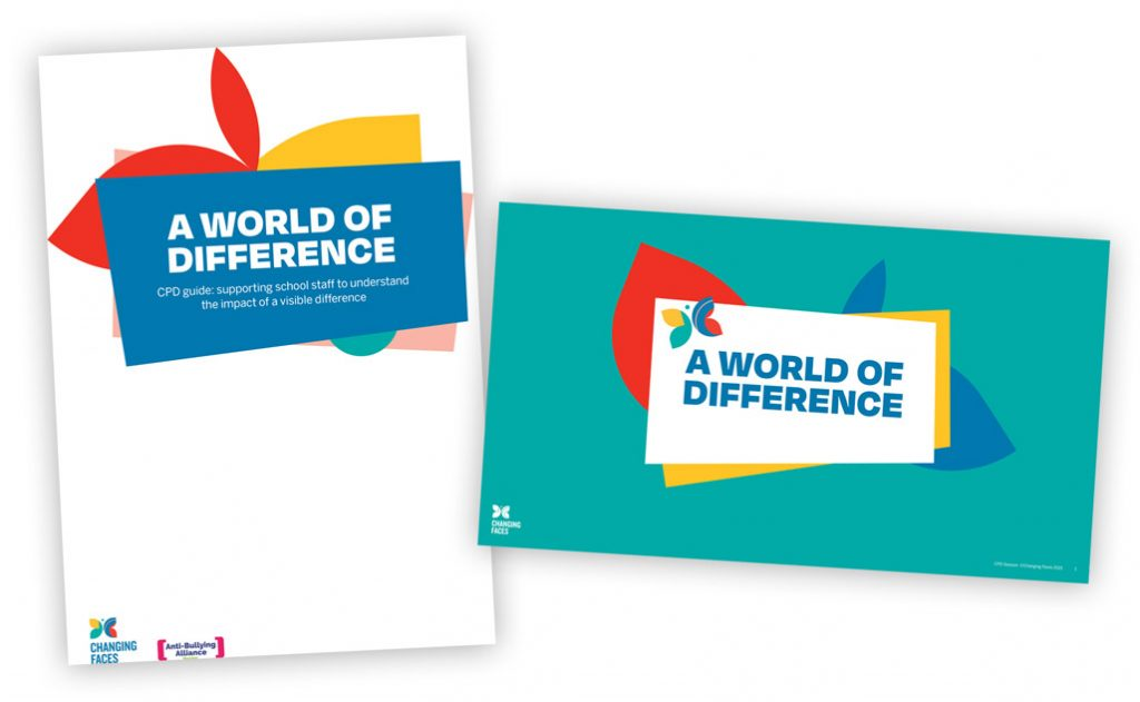 A collage of covers of our A World of Difference CPD resources for teachers