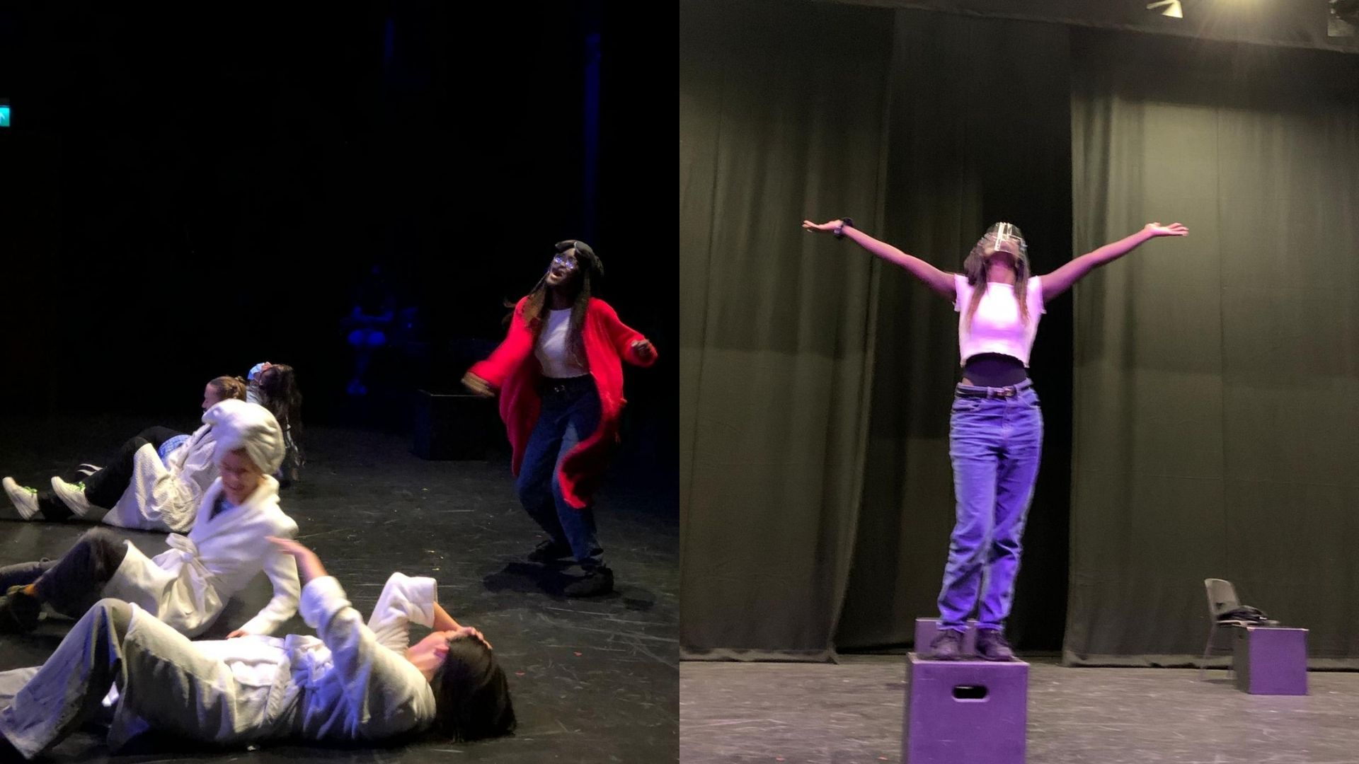 Left: Crystal wearing a red cardigan, jeans and a white t-shirt. She appears to be talking to the ceiling. On the ground are several actors lying down in white dressing gowns. Right: Crystal is wearing a dace shield, a white t-shirt and jeans. She is standing on top of a box and looking up with her arms stretched out to either side. Behind are some heavy black drapes.