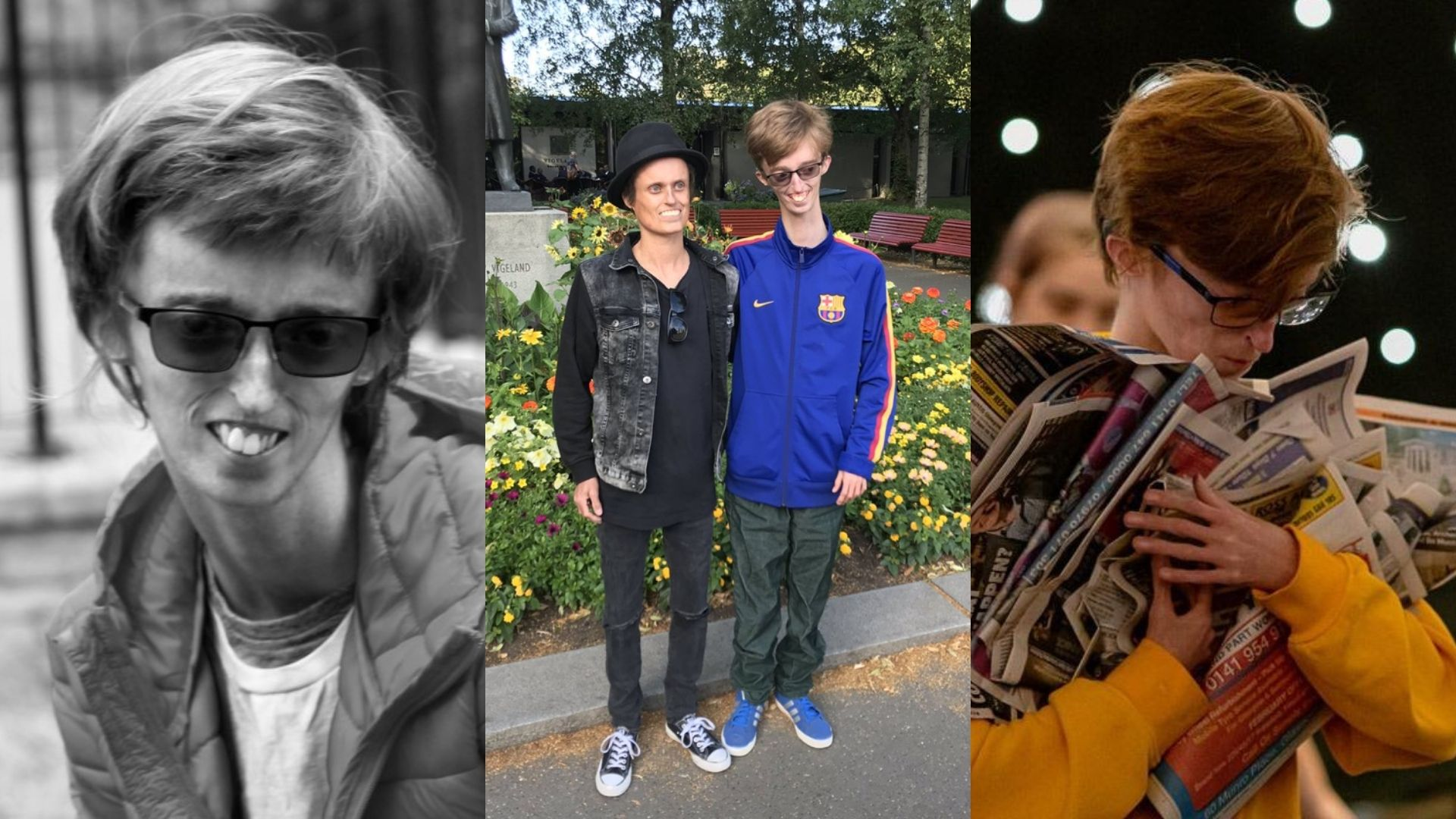 Left: A black and white image of Dylan wearing a jacket, t-shirt and glasses. Centre: Dylan posing for a photo next to a man dressed in a black hat, black jacket, jumper, jeans and shoes. Dylan is wearing a blue zip up jumper, dark trousers and blue shoes. Right: Dylan, wearing a yellow jumper and holding a bunch of newspapers in his hands.