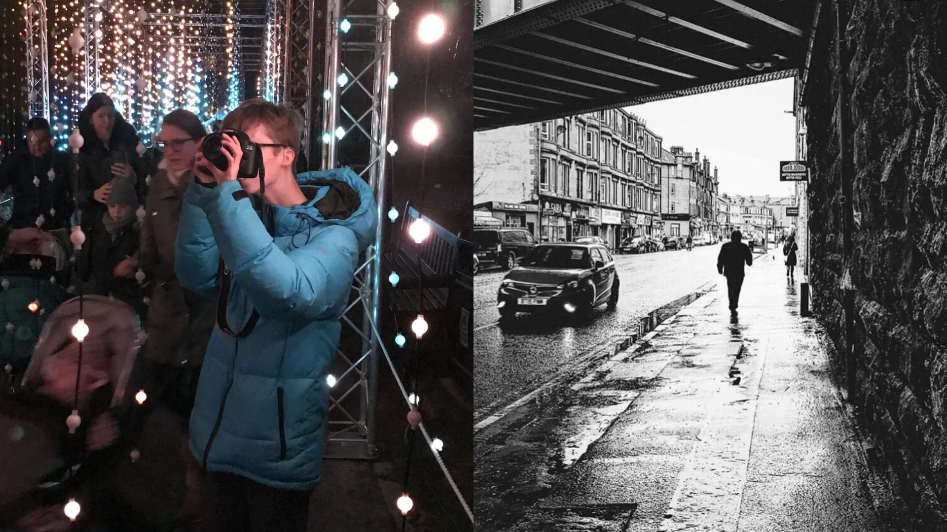 Left: Dylan, wearing a blue jacket, holding a camera up to take a photo. Behind him are several women and child as well as some lights and what appears to be scaffolding. Right: a black and white image Dylan took of a street under a bridge. We can see some cars and a man walking under the bridge.