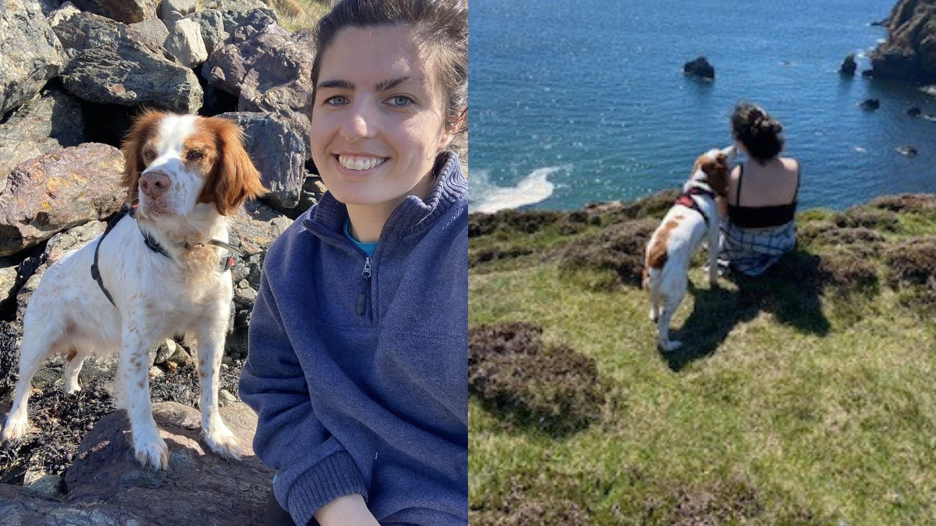 Left: Sophie, 20s, outdoor sitting on some rocks on a hill with her dog. She's wearing a blue fleece and has her hair tied up. Right: Far away shot of Sophie and her dog, sitting at the edge of a cliff, looking away from the camera towards the sea.