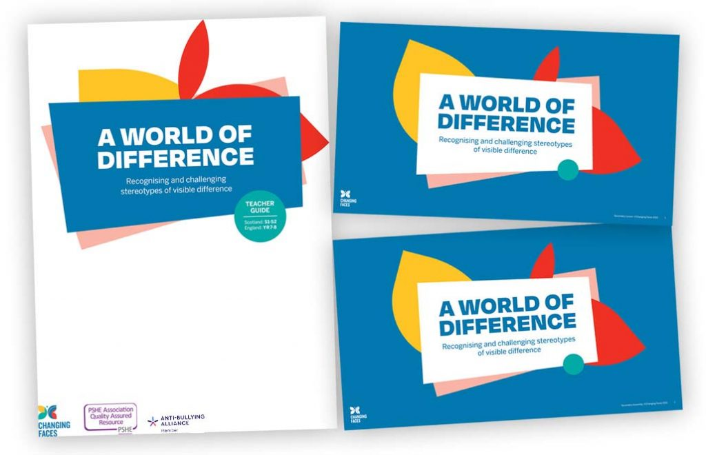 A collage of covers of our A World of Difference secondary school resources