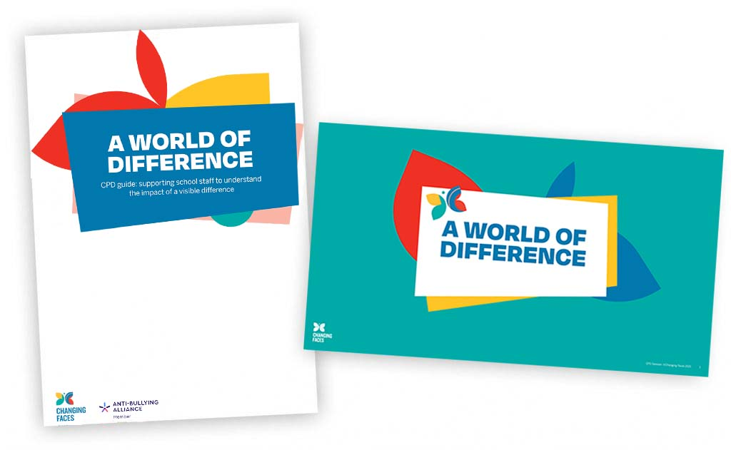 A collage of covers of our new A World of Difference CPD resources for teachers