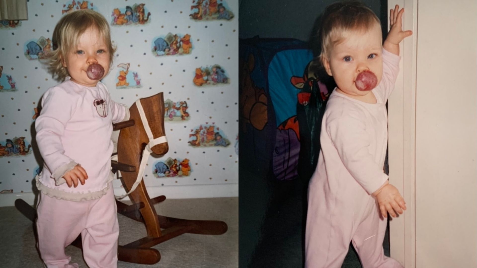 Left: Abbie as a toddler, 2-3 years old, with a hemangioma on her lip. She has short blonde hair and is wearing matching pink pyjamas. She's resting a hand on a rocking horse and looking at the camera. Right: Abbie as a toddler, 2-3 years old, with very short blonde hair and a hemangioma on her lip. She is wearing a pink onesie and leaning against a doorway and looking at the camera.