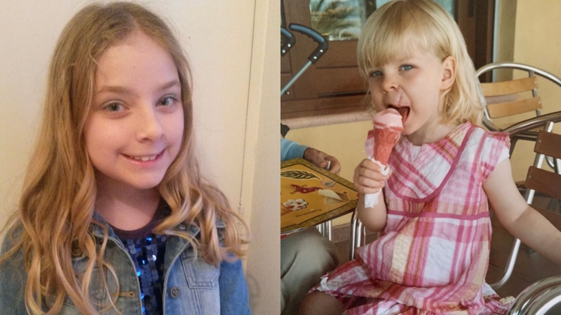 Left: Abbie at 10-11 years of age. She has shoulder length blonde hair and some scarring above her mouth. She is wearing a denim jacket, standing against a cream wall, and smiling at the camera. Right: Abbie at 4 years old. She has some scarring above her mouth. She's wearing a red and white check dress and eating a ice cream cone while looking at the camera.